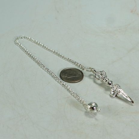 Metal Pendulum - Silver Colour Tiny Dagger with Chain - #2