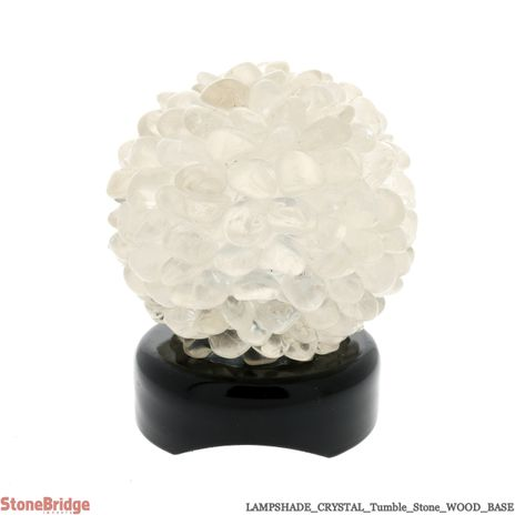 Clear Quartz Tumble Stone lamp on Wood Base #01 - 5""