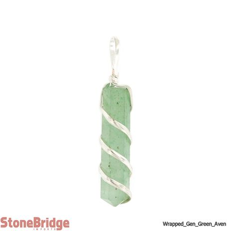 Green Aventurine Flat Generator Coil Wrapped - Silver Plated Pendant
