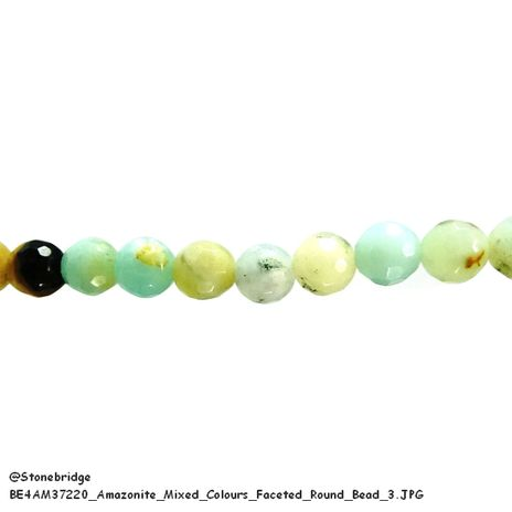 "Amazonite Mixed Colours Faceted - Round Bead 15"" strand - 6mm"
