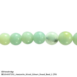 "Amazonite Mixed Colours - Round Bead 15"" strand - 4mm"