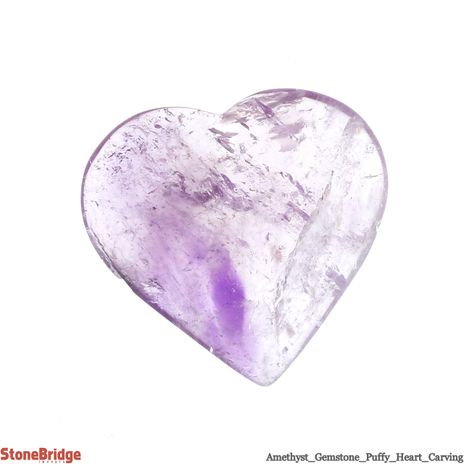 "Amethyst Crystal Puffy Heart - Size #2 - 40 mm (1"" to 2"")"
