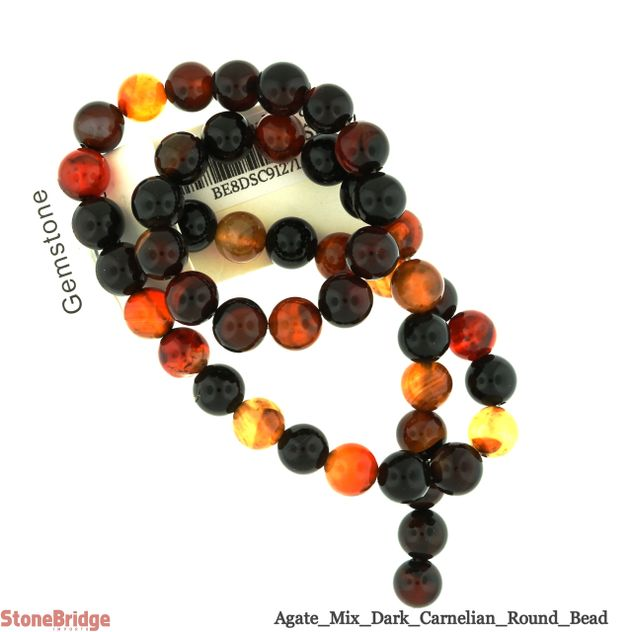 Dark Colour Agate - Round Bead 15""