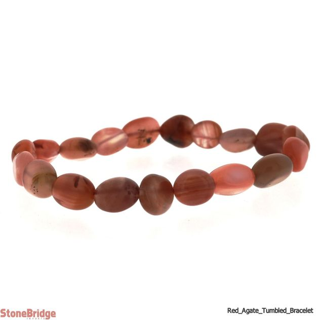 Natural Red Agate Tumbled Bead Stretch Bracelet