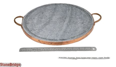 "Soapstone Grilling Plate - Copper handles - 14"" - large"
