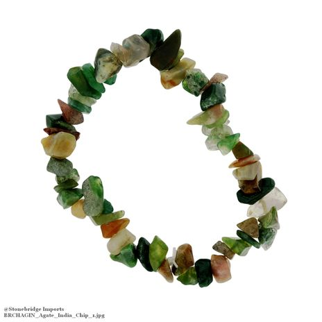 Agate India Chip Bead Stretch Bracelet