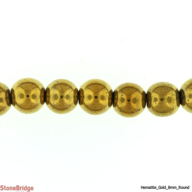 "Hematite Gold Colour - Round Bead 15"" strand - 8mm"