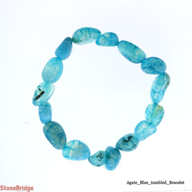 Agate Blue Tumbled Bead Stretch Bracelet