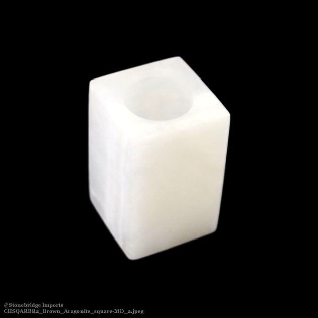 White Aragonite Square Candle Holder - 9cm high
