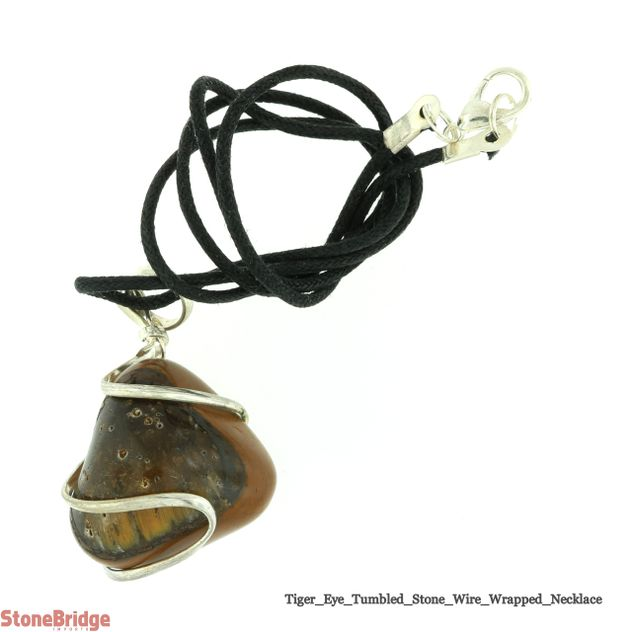 Tiger's Eye Necklace - Wrapped Tumbled Stone