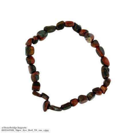 Tiger Eye Red Tumbled Bead (small stones) Stretch Bracelet