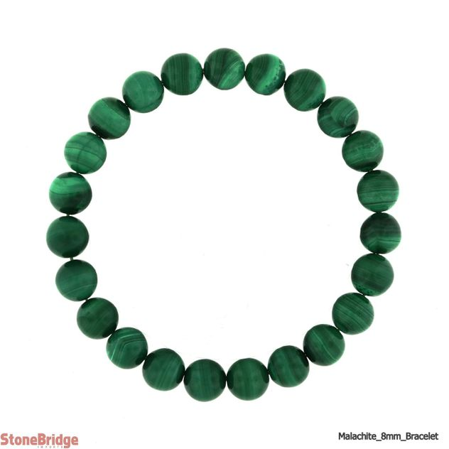 Malachite Round Bead Stretch Bracelet