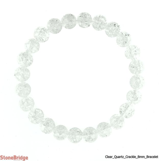 Cracked Quartz Round Bead Stretch Bracelet