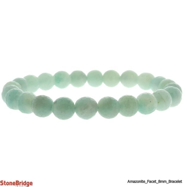 Amazonite Faceted Round Bead Stretch Bracelet