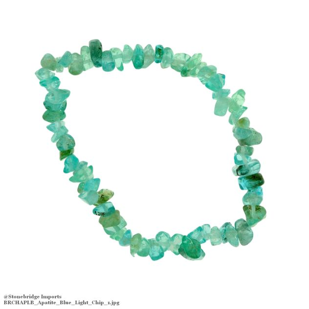 Apatite Blue Light Chip Bead Stretch Bracelet