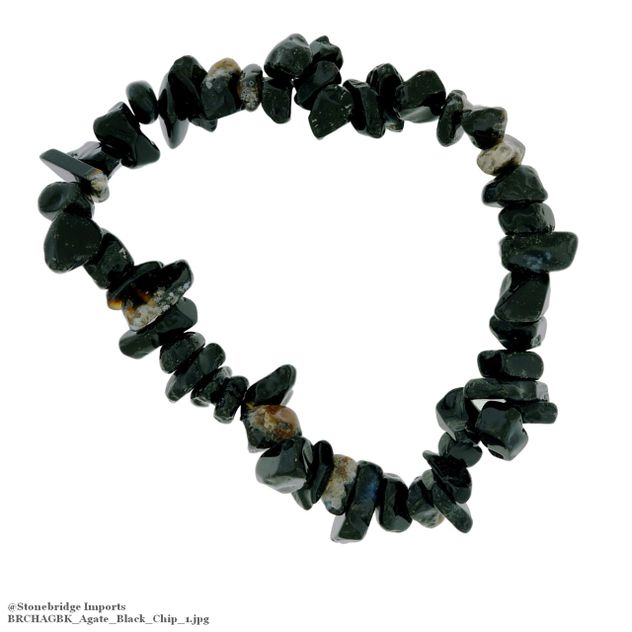 Agate Black Chip Bead Stretch Bracelet