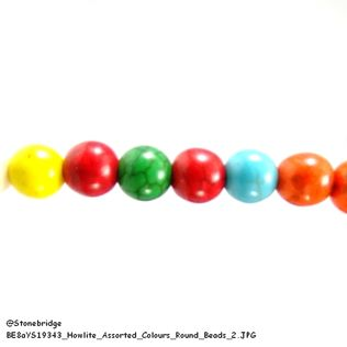"Howlite - Assorted Colours - Round Bead 15"" strand - 10mm"