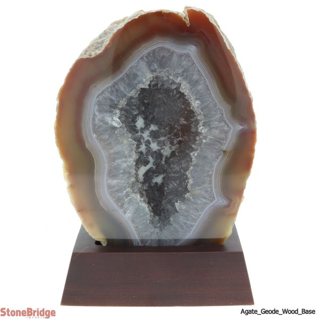 Agate Geode on Wood Base - Unique #04