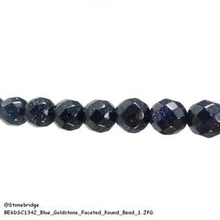 Blue Goldstone Faceted - Round Bead