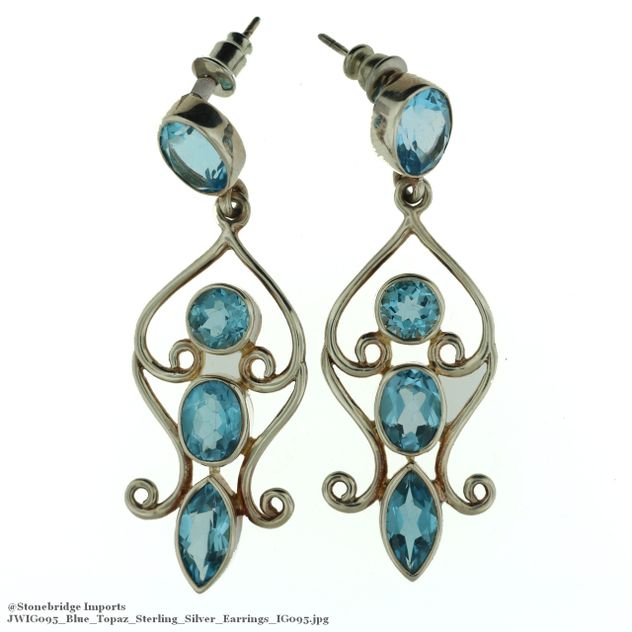 Blue Topaz Sterling Silver Earrings IG095