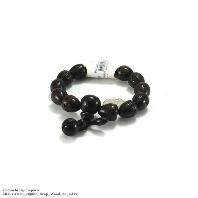 Jujube Drop Carved Mala Bracelet - 12x16mm -#20