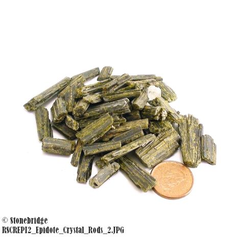 """Epidote Crystal Rods- 3/8"""" to 1 1/2"""" - 50g bag (25 to 50 pieces)"""