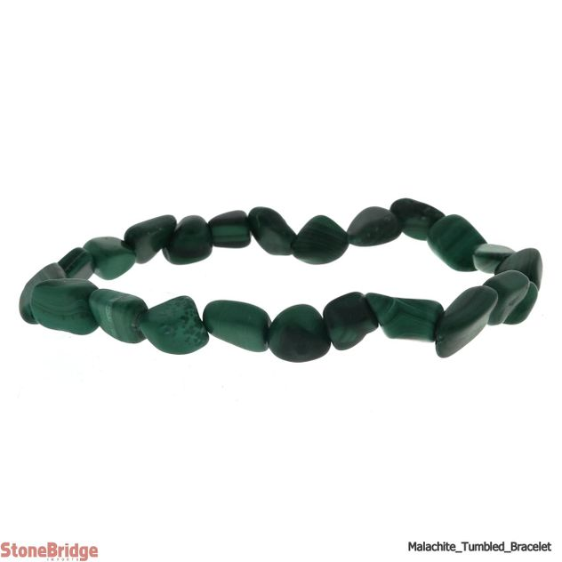 Malachite Tumbled Bead (Small Stones) Stretch Bracelet