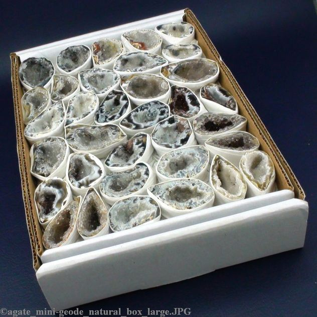 "Agate Mini Natural Geode Box 1 1/2"" to 3"" (Box size 10""x7""; 18 to 30 pieces) (GEAGNBOX1)"