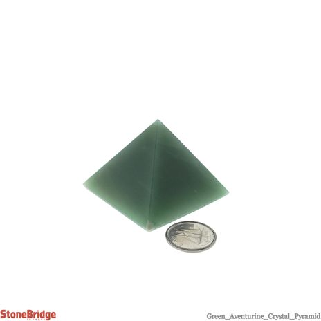 "Green Aventurine Pyramid - Size #2 - 40mm (1 1/2"" to 1 3/4"")"