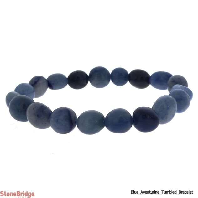 Aventurine Blue Tumbled Bead Stretch Bracelet