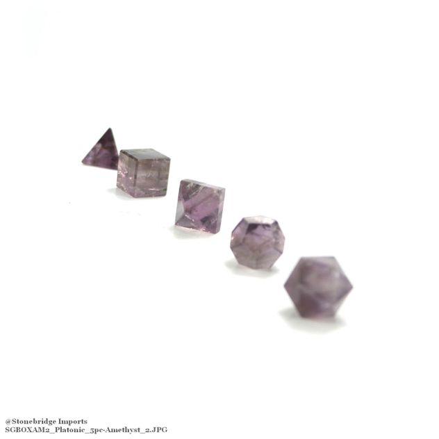 "Amethyst 3/4"" Platonic Solids Set in Wood Case"