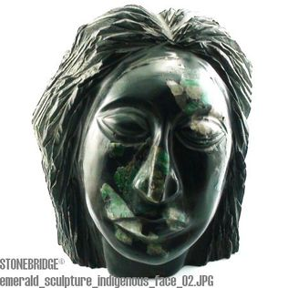 Emerald in Matrix Xist Sculpture: Face #13