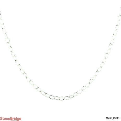 """Cable 017 (1.3 mm) 16"""" - Sterling Silver Chain"""