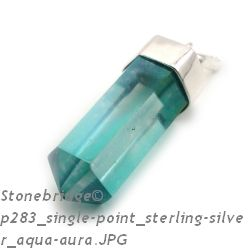 Aqua Aura Point - Silver Pendant