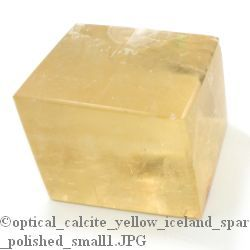 "Yellow Calcite Optical Crystal Polished (Iceland Spar) 1"" to 1 3/4"""