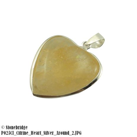 Citrine Heart with Silver All Around - Silver Pendant