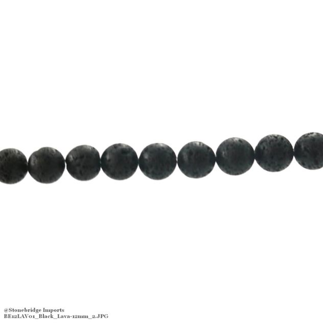 "Black Lava - Round Bead 15"" strand - 12mm"