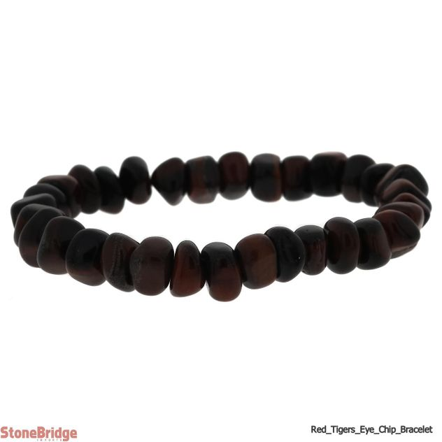Tiger Eye Red Type 2 Tumbled Bead Stretch Bracelet
