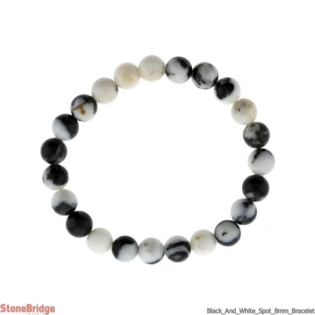 Black and White Spot Stone Round Bead Stretch Bracelet