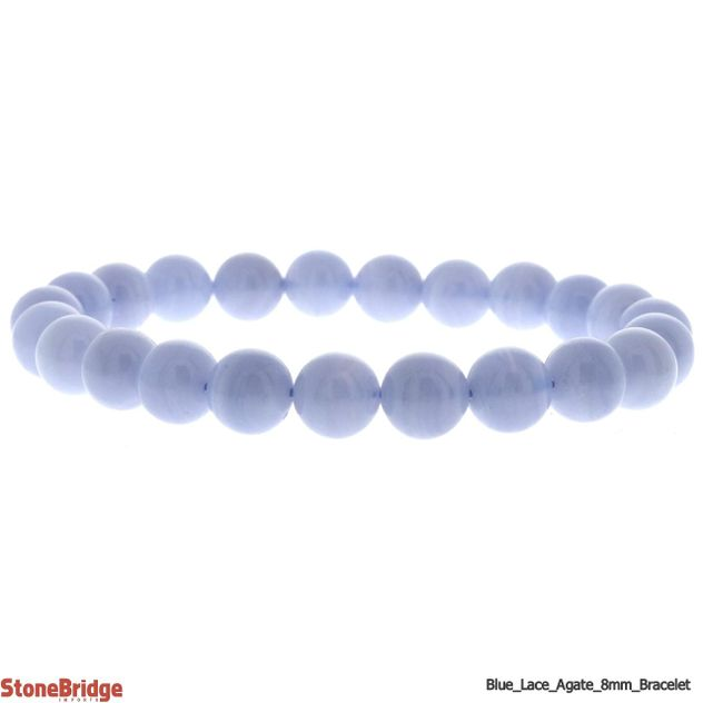 Blue Lace Agate A Round Bead Stretch Bracelet