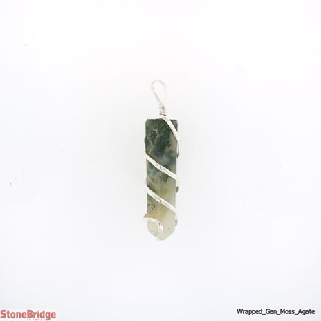 Moss Agate Generator Coil Wrapped - Silver Plated Pendant