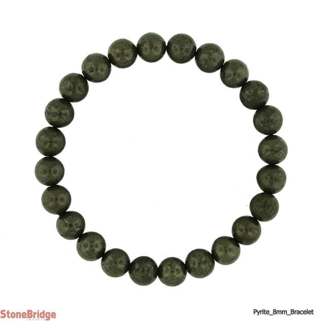 Pyrite Round Bead Stretch Bracelet