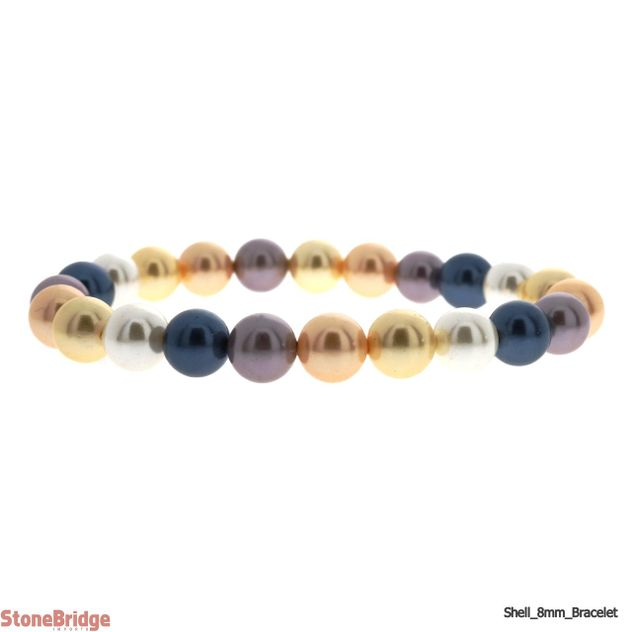 Shell Round Bead Stretch Bracelet