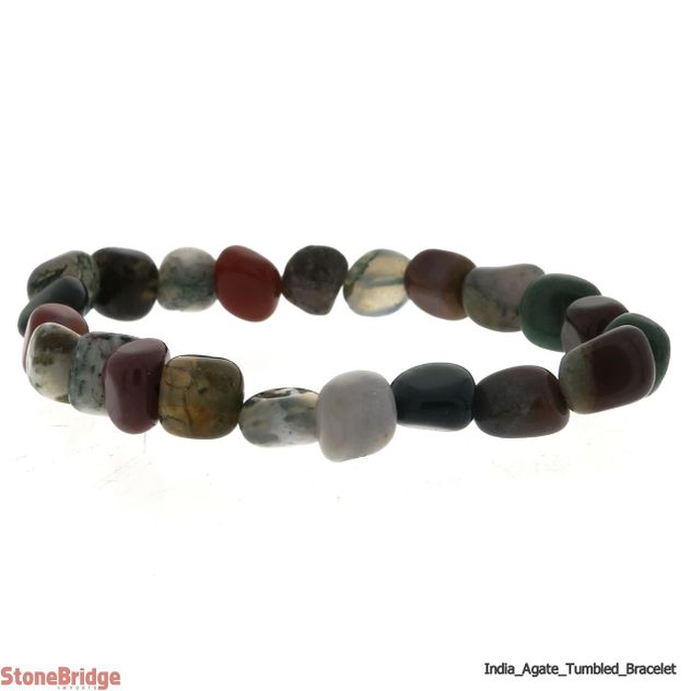 Agate India Tumbled Bead Stretch Bracelet