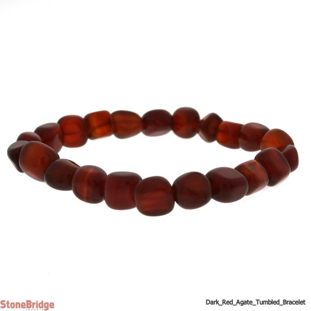 Natural Dark Red Agate Tumbled Bead Stretch Bracelet