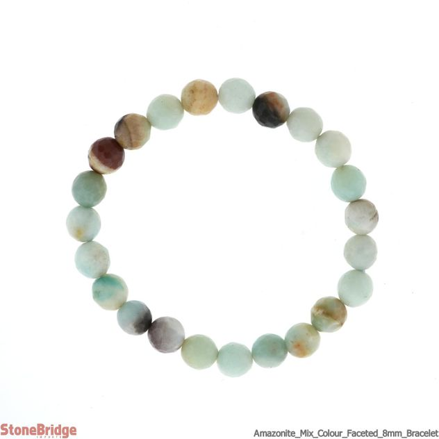Amazonite Mixed Colour, Faceted Round Bead Stretch Bracelet - 8mm