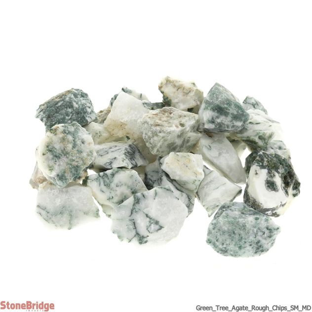 Green Tree Agate Rough Chips SM/MD 500g bag