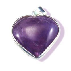 Amethyst Heart with Silver All Around - Silver Pendant