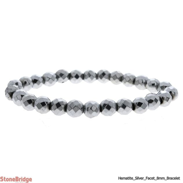 Hematite Silver Colour Faceted Round Bead Stretch Bracelet - 8mm