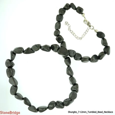 Shungite Necklace Tumbled - 7mm to 12mm beads